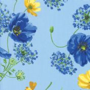 Moda - Summer Breeze 2019 - 7070 - Poppies Agapanthus on Light Blue - 33440 15 - Cotton Fabric